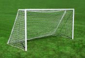 But de mini soccer en acier peint blanc 8' X 4'6po avec filet 2.5mm orange